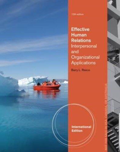 Effective Human Relations 12 ED by Barry L Reece 1133953190 EM